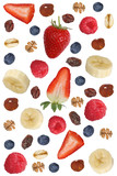 Zutaten für Frucht Müsli mit Früchte wie Himbeere, Banane und