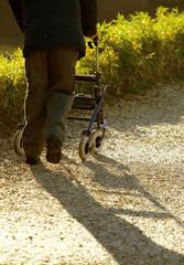 disabled elderly with medical Walker for walking