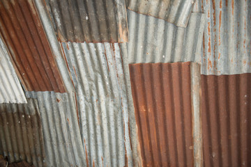 Old galvanized steel and dilapidated