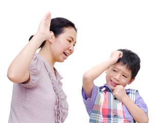 Mother Being Physically Abusive Towards Son Over White Backgroun