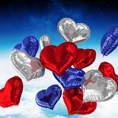 Composite image of heart balloons