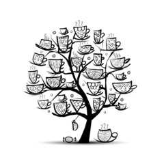 Art tree with mugs and cups. Sketch for your design