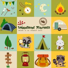 Square Woodland Animal Camping Vector Set