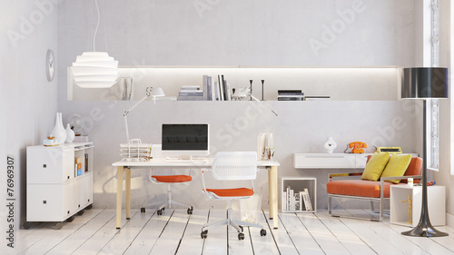 canvas print picture Arbeitsplatz in Loft Büro - Workplace in old loft apartment