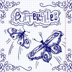 Butterflies doodle ornament