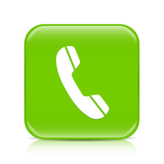 Light green phone button icon with reflection