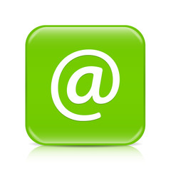 Light green email button icon with reflection