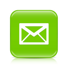 Light green envelope button icon with reflection
