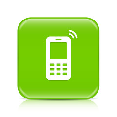 Light green mobile phone button icon with reflection