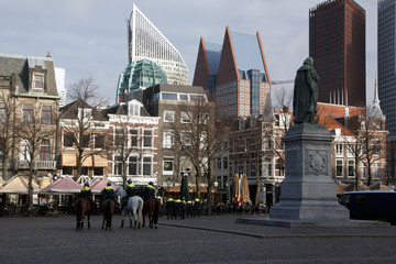 Police on square in The Hague