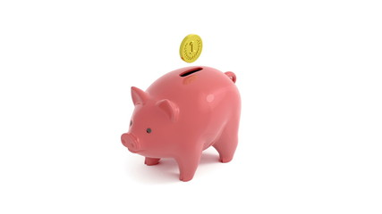 Animated piggy bank with cartoon coin and attached luma matte