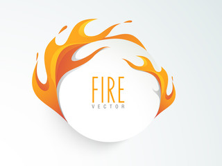 Creative sticker, tag or label design in fire.