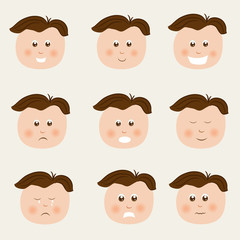 Cute boy cartoon with different facial expressions.