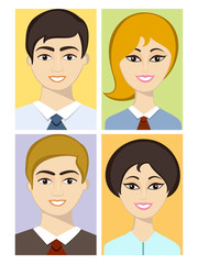Set of four smiling business avatars.