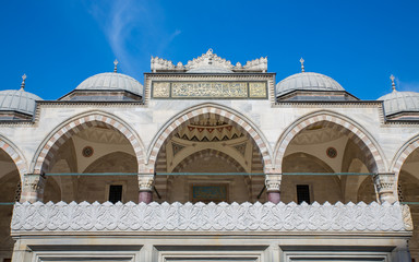 Suleymaniye Mosque arcade and blue sky in Istanbul