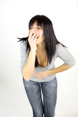 Woman feeling terrible stomach ache menstruation pain