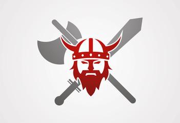 Viking head axe sword logo vector