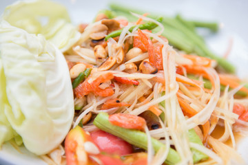 papaya salad or also known som tum is spicy thai cuisine