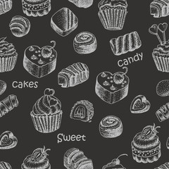 Seamless pattern with sweet cakes and candy