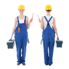 front and back view of young beautiful woman builder in workwear