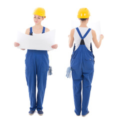 front and back view of woman builder in blue coveralls holding b