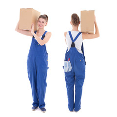 front and rear view of young attractive woman in blue workwear w