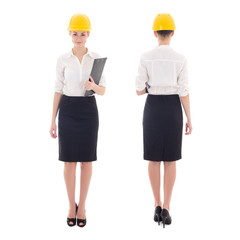 front and back view of young beautiful business woman in builder