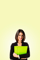 executive business woman on yellow background