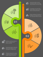 Infographic design with various house icons