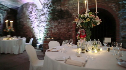 Wedding tables in wine cellar