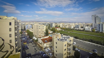 Aerial skyline view of Limassol city, Cyprus (Time Lapse)