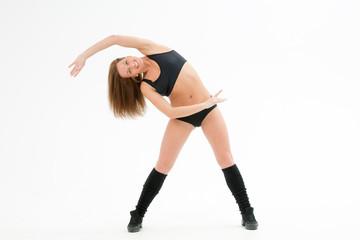 athletic girl bent sideways