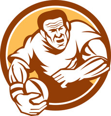 Rugby Player Running Ball Circle Linocut