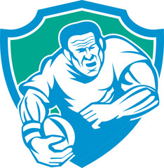Rugby Player Running Ball Shield Linocut