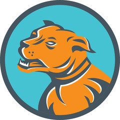 Angry Mastiff Dog Mongrel Head Circle