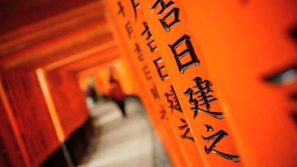 Torii gates Fushimi Inari Taisha shrine inscriptions temple travel  Kyoto