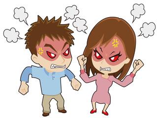 喧嘩する若いカップル