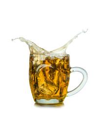 Beer mugs splashing on whire background