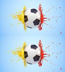 Splash - colored paint - soccer ball