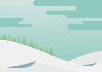 Winter  landscape with beautiful snowfall in the sky. Vector