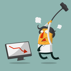 Furious frustrated businessman hitting the computer. Vector