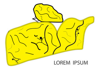 Logo for rock climbing in yellow color