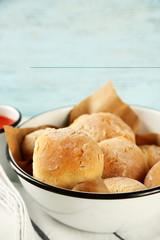 Fresh homemade bread buns from yeast dough with fresh garlic