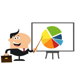 Manager Pointing Progressive Pie Chart On A Board.Flat Style