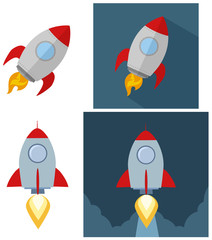 Retro Rocket Start Up Concept. Flat Style Collection Set