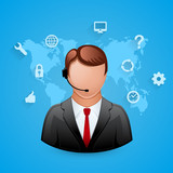 Technical support blue background. Man with icons. poster