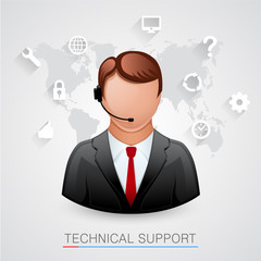 Technical support Background. Man with icons.