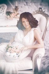 Portrait beautiful Girl. Model Woman wearing Long Chiffon dress