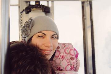 Smiling Woman in Funicular