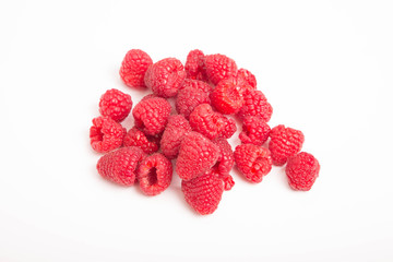 Fresh Red Raspberries on White Counter